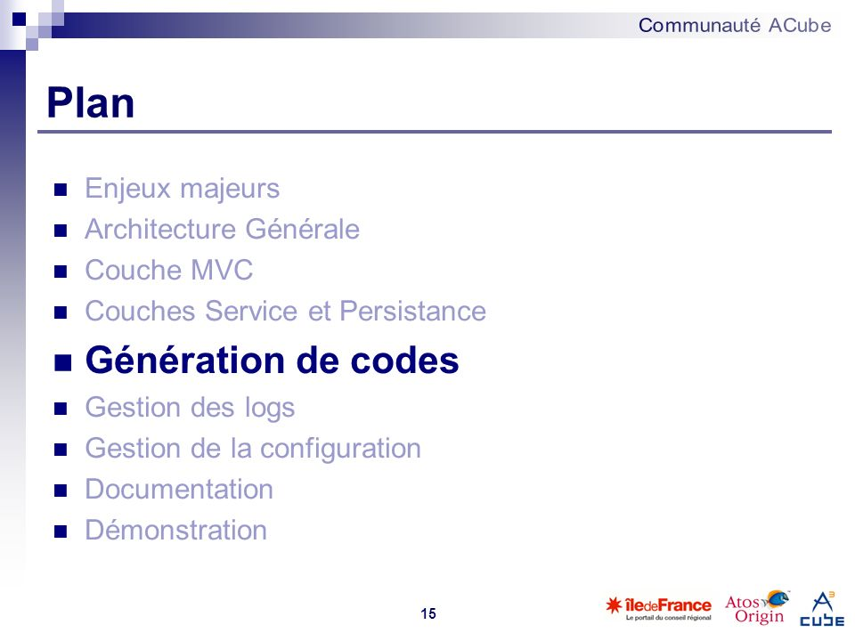 Plan Génération de codes Enjeux majeurs Architecture Générale