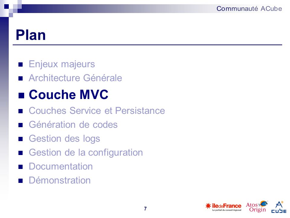 Plan Couche MVC Enjeux majeurs Architecture Générale