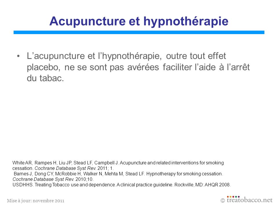 Acupuncture et hypnothérapie