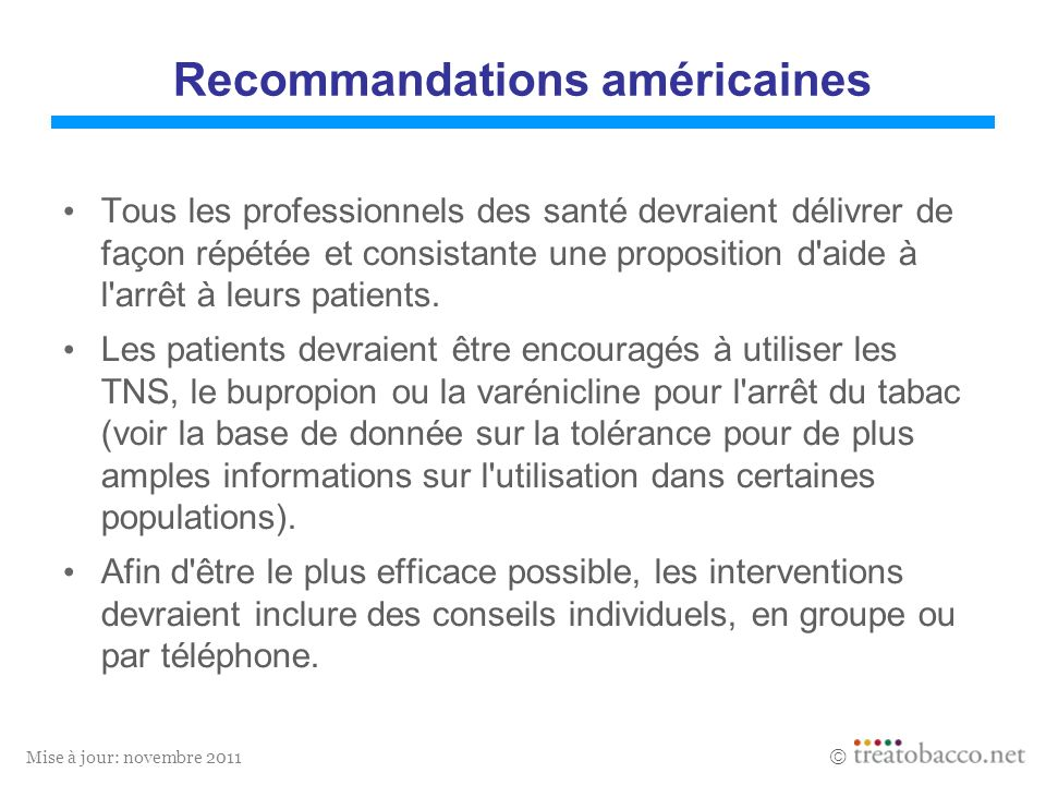 Recommandations américaines