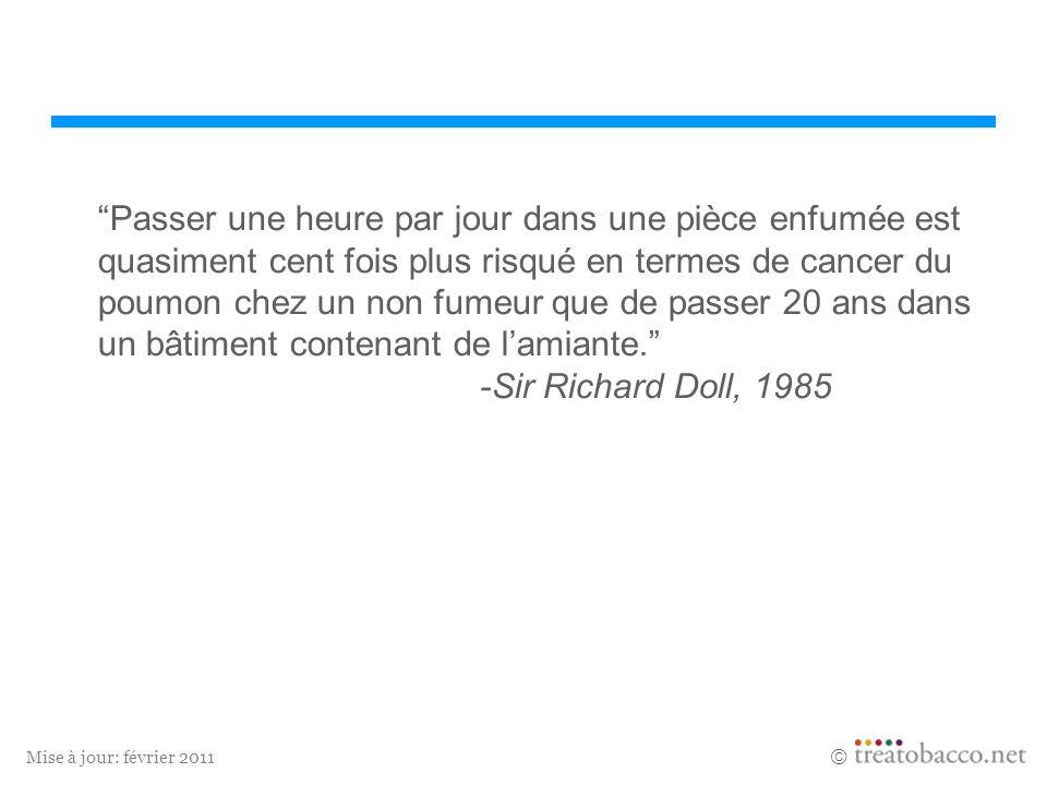 Passer une heure par jour dans une pièce enfumée est quasiment cent fois plus risqué en termes de cancer du poumon chez un non fumeur que de passer 20 ans dans un bâtiment contenant de l'amiante. -Sir Richard Doll, 1985
