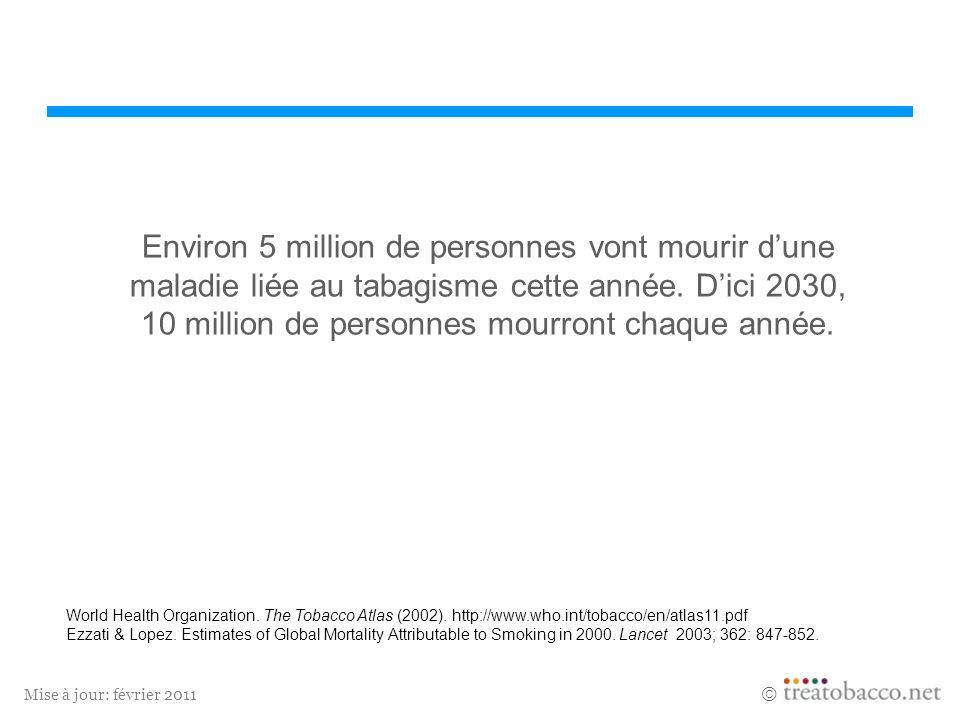 Environ 5 million de personnes vont mourir d'une maladie liée au tabagisme cette année. D'ici 2030, 10 million de personnes mourront chaque année.