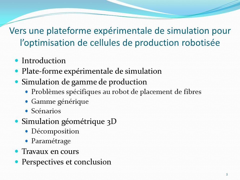 Vers une plateforme expérimentale de simulation pour l'optimisation de cellules de production robotisée