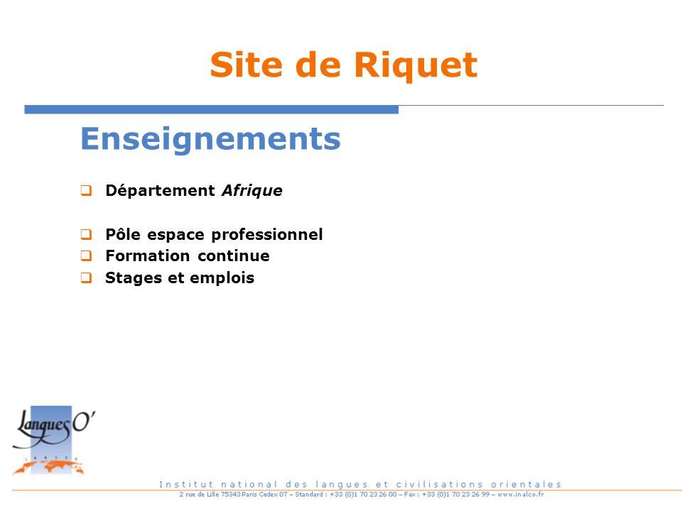 Site de Riquet Enseignements Département Afrique