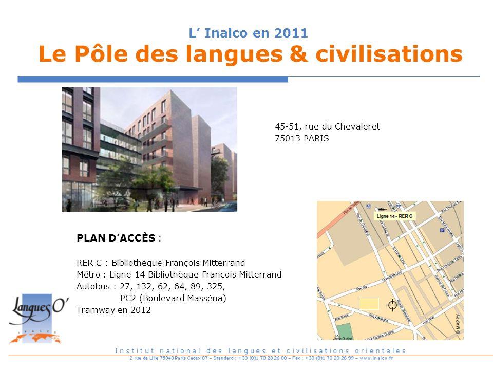 L' Inalco en 2011 Le Pôle des langues & civilisations