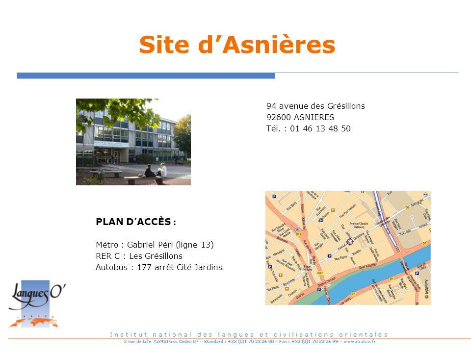 Site d'Asnières PLAN D'ACCÈS : 94 avenue des Grésillons 92600 ASNIERES