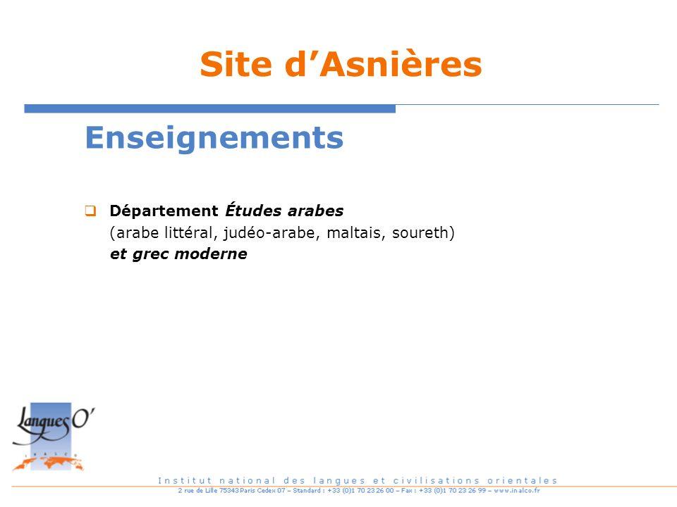 Site d'Asnières Enseignements Département Études arabes