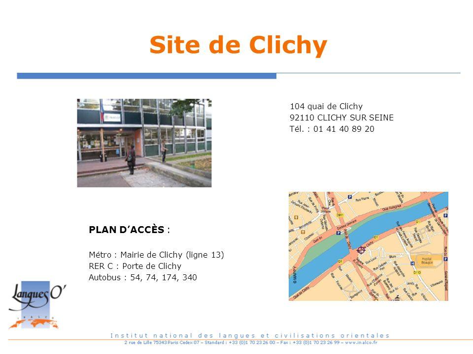 Site de Clichy PLAN D'ACCÈS :