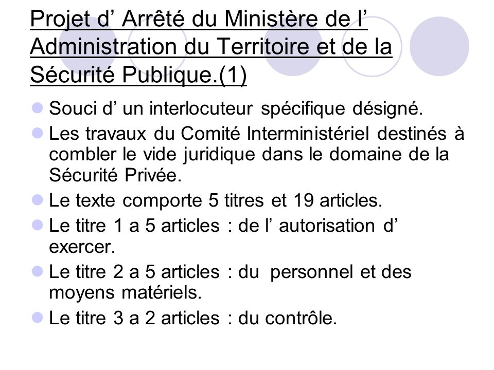 Projet d' Arrêté du Ministère de l' Administration du Territoire et de la Sécurité Publique.(1)
