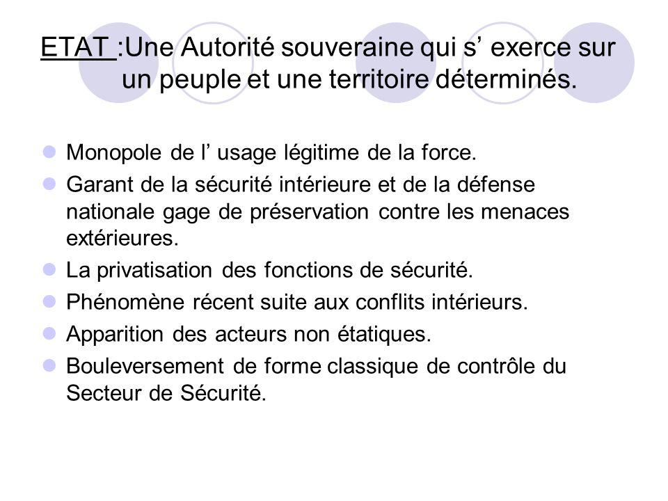 ETAT :Une Autorité souveraine qui s' exerce sur un peuple et une territoire déterminés.
