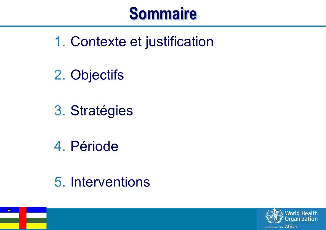 Sommaire Contexte et justification Objectifs Stratégies Période