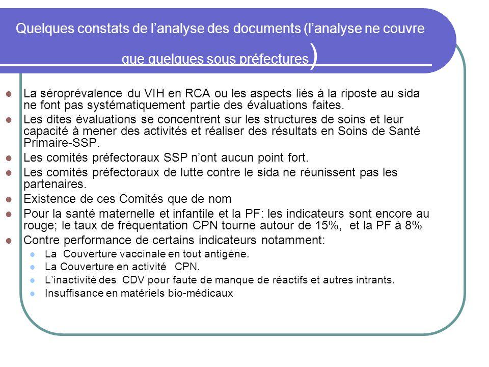Quelques constats de l'analyse des documents (l'analyse ne couvre que quelques sous préfectures)