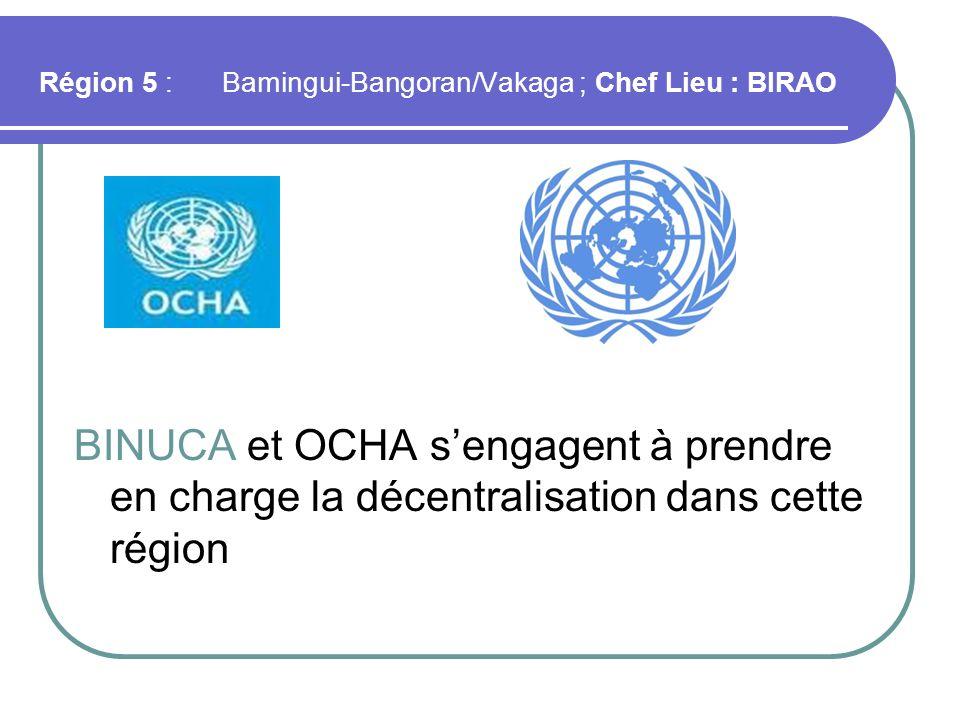Région 5 : Bamingui-Bangoran/Vakaga ; Chef Lieu : BIRAO
