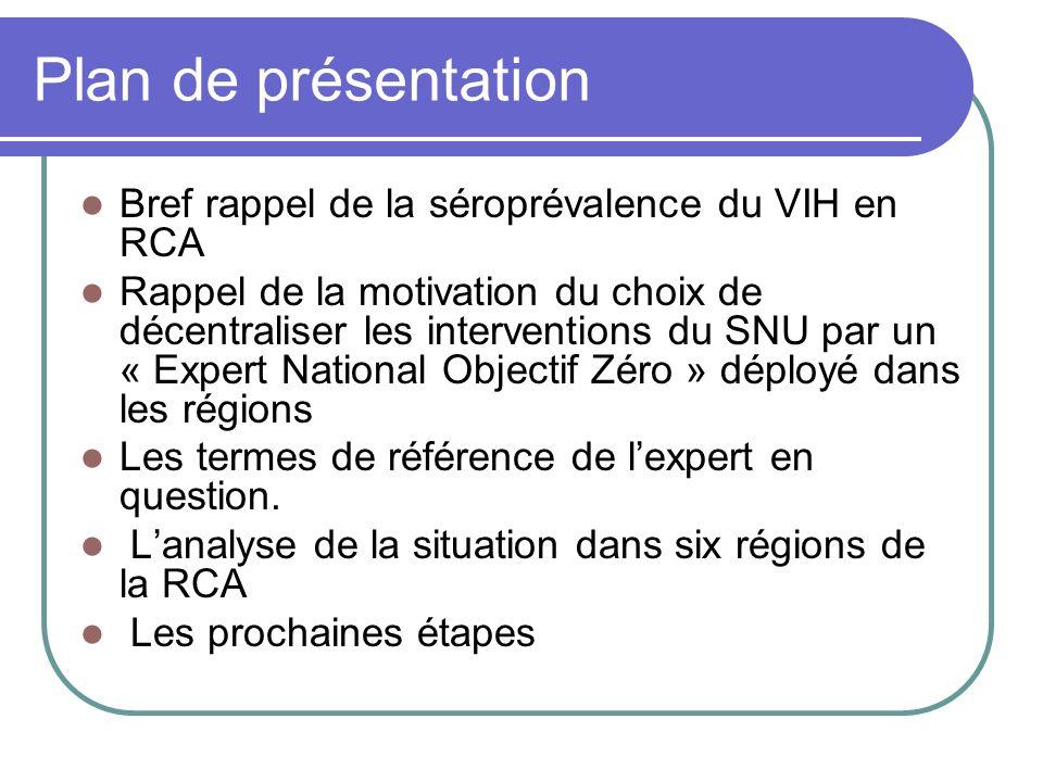 Plan de présentation Bref rappel de la séroprévalence du VIH en RCA