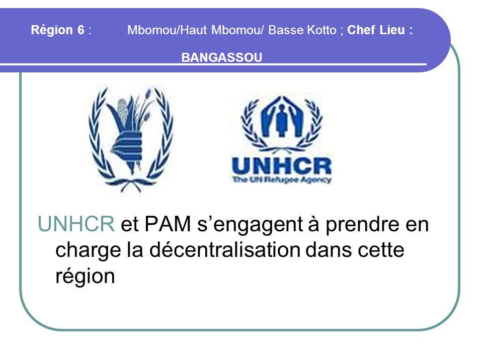 Région 6 : Mbomou/Haut Mbomou/ Basse Kotto ; Chef Lieu : BANGASSOU
