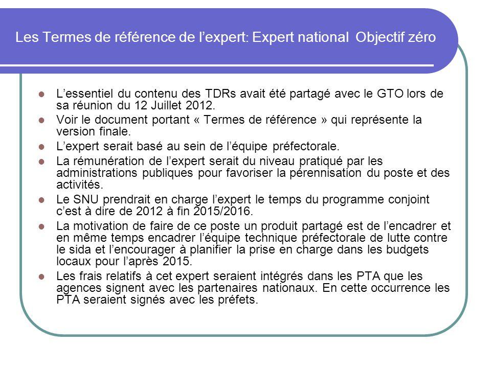Les Termes de référence de l'expert: Expert national Objectif zéro