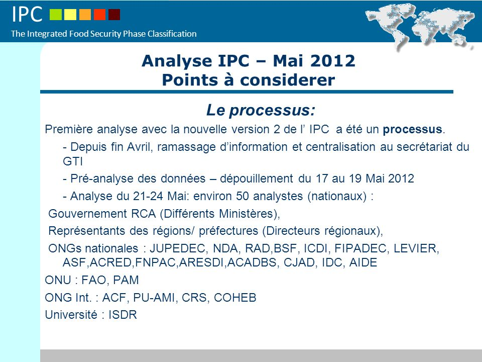 Analyse IPC – Mai 2012 Points à considerer Le processus: