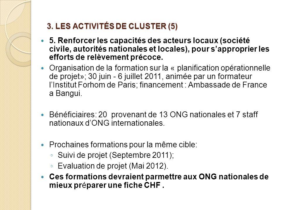 3. LES ACTIVITÉS DE CLUSTER (5)
