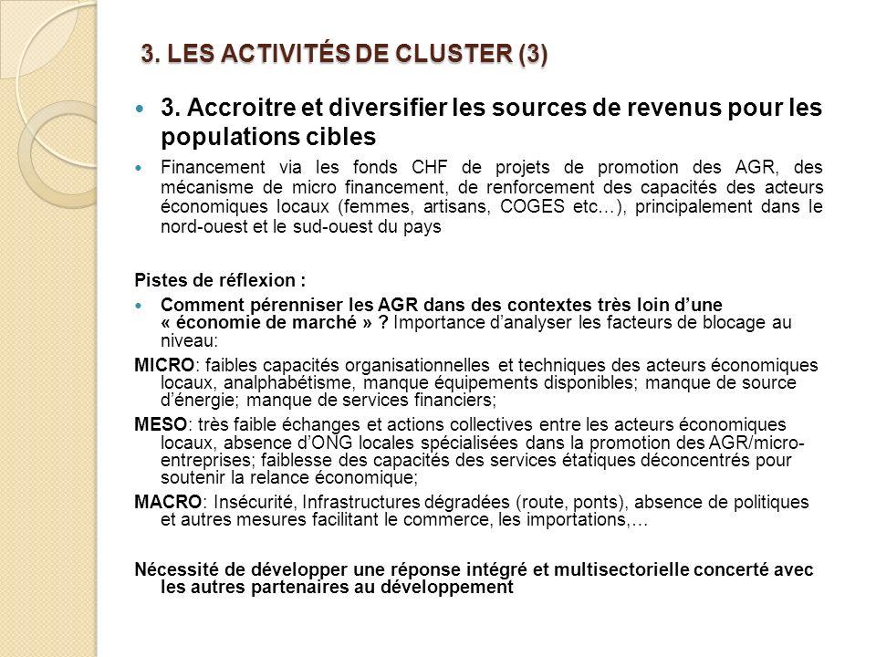 3. LES ACTIVITÉS DE CLUSTER (3)
