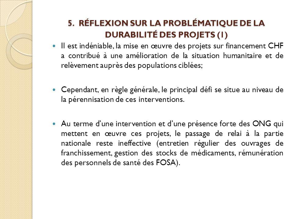 5. RÉFLEXION SUR LA PROBLÉMATIQUE DE LA DURABILITÉ DES PROJETS (1)