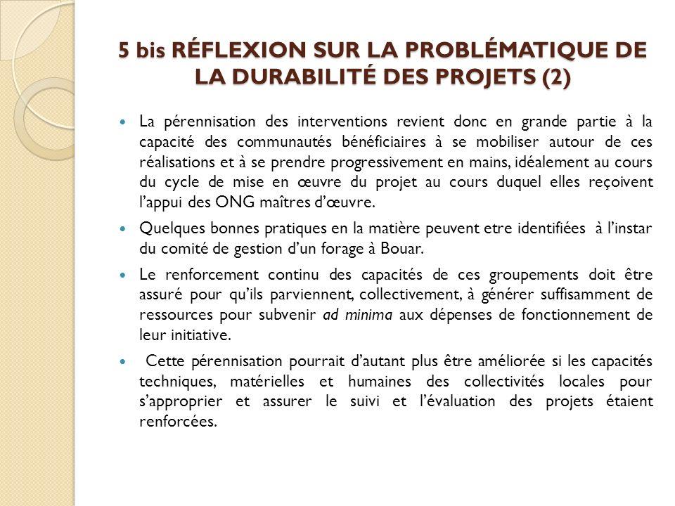 5 bis RÉFLEXION SUR LA PROBLÉMATIQUE DE LA DURABILITÉ DES PROJETS (2)