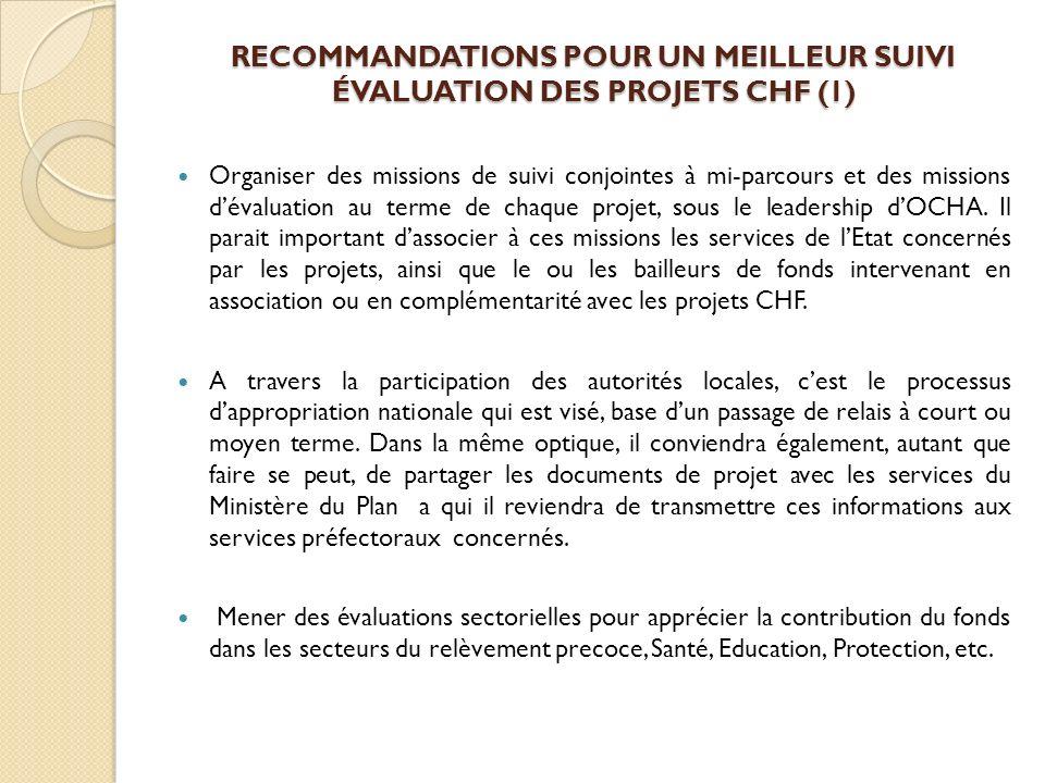 RECOMMANDATIONS POUR UN MEILLEUR SUIVI ÉVALUATION DES PROJETS CHF (1)