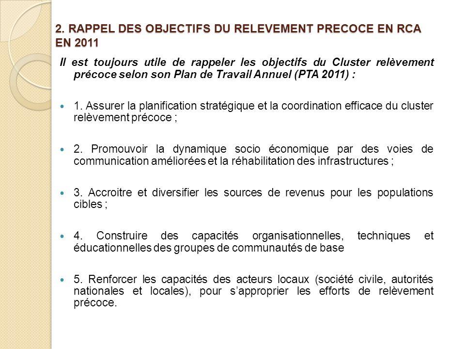 2. RAPPEL DES OBJECTIFS DU RELEVEMENT PRECOCE EN RCA EN 2011