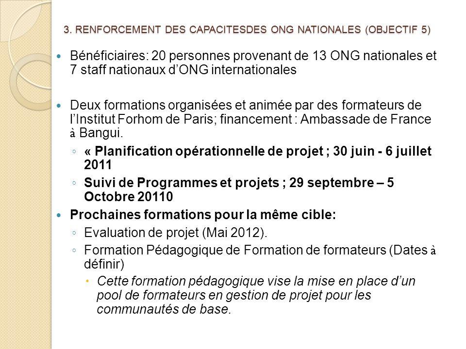 3. RENFORCEMENT DES CAPACITESDES ONG NATIONALES (OBJECTIF 5)