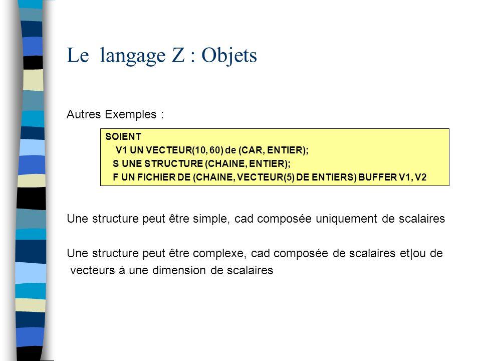 Le langage Z : Objets Autres Exemples :
