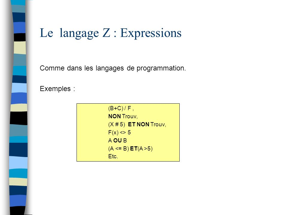 Le langage Z : Expressions