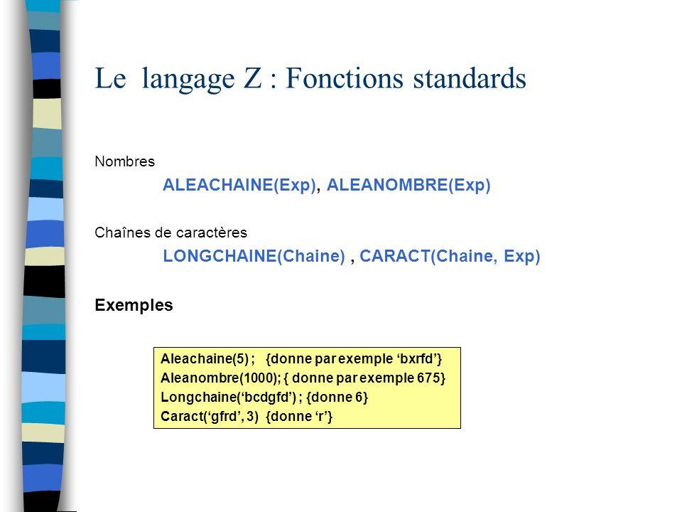 Le langage Z : Fonctions standards