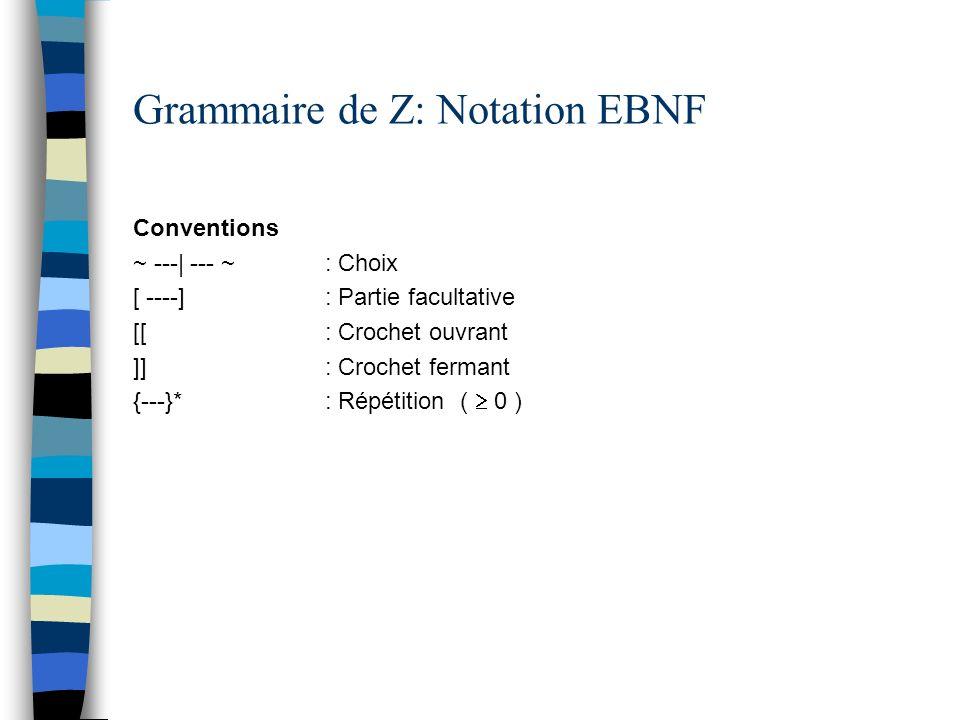 Grammaire de Z: Notation EBNF