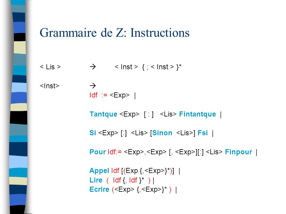 Grammaire de Z: Instructions