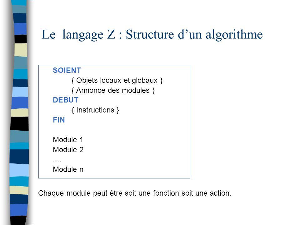 Le langage Z : Structure d'un algorithme