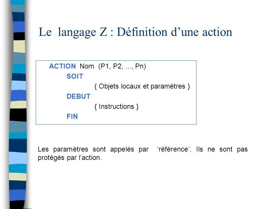 Le langage Z : Définition d'une action