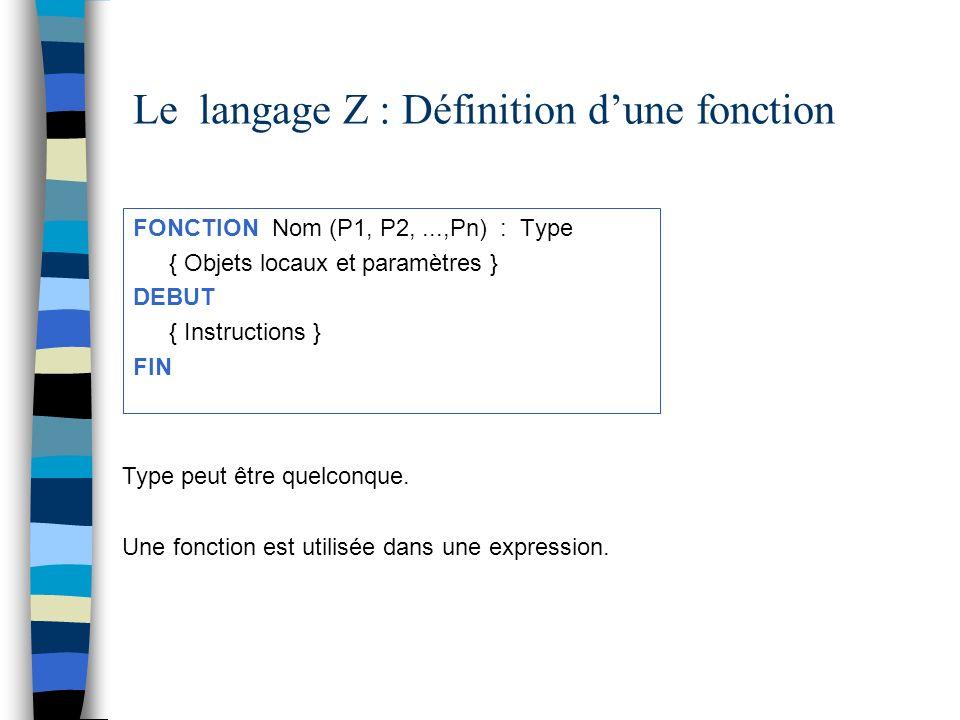 Le langage Z : Définition d'une fonction