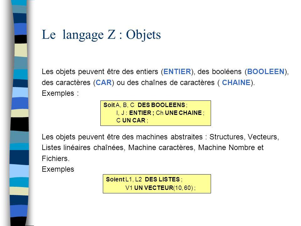 Le langage Z : Objets Les objets peuvent être des entiers (ENTIER), des booléens (BOOLEEN),