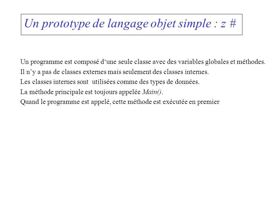 Un prototype de langage objet simple : z #