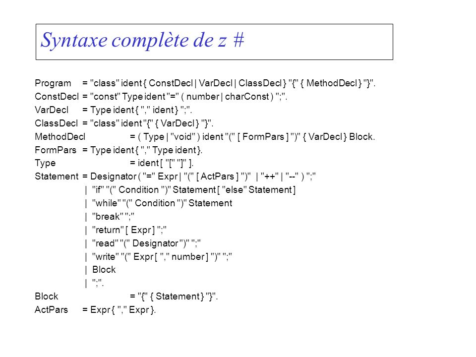 Syntaxe complète de z #Program = class ident { ConstDecl | VarDecl | ClassDecl } { { MethodDecl } } .