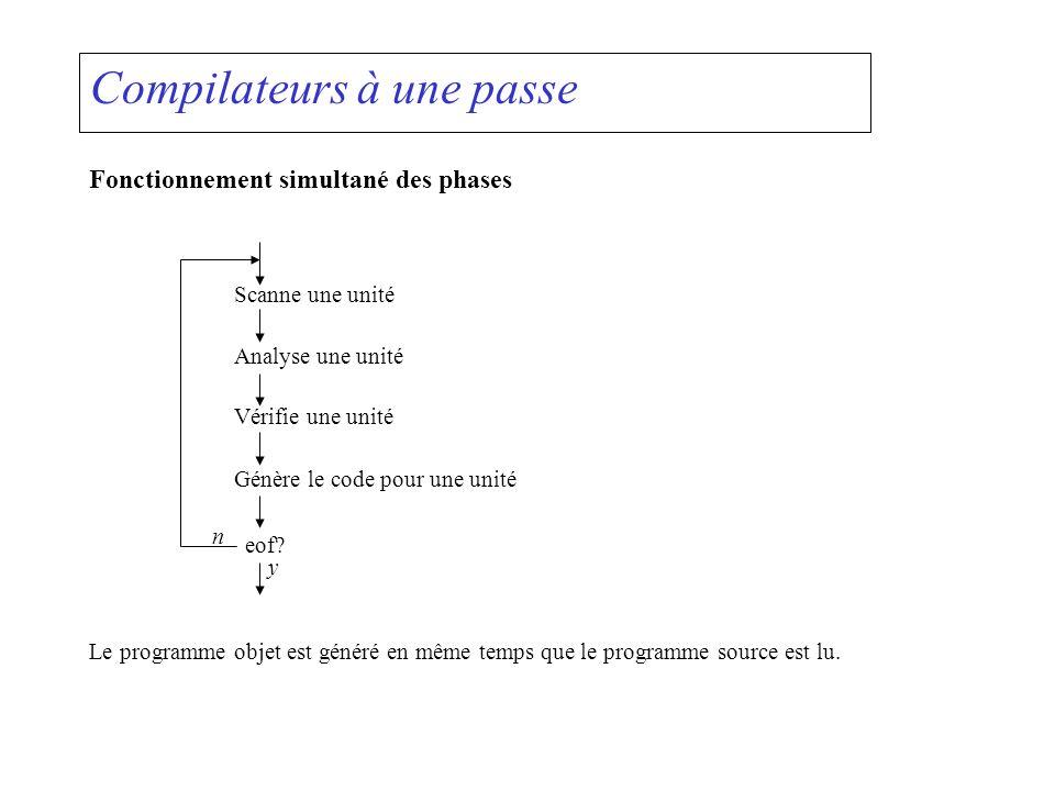 Compilateurs à une passe