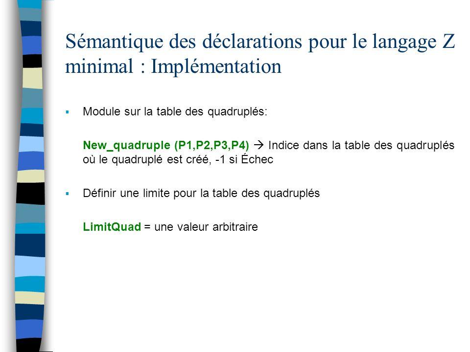 Sémantique des déclarations pour le langage Z minimal : Implémentation