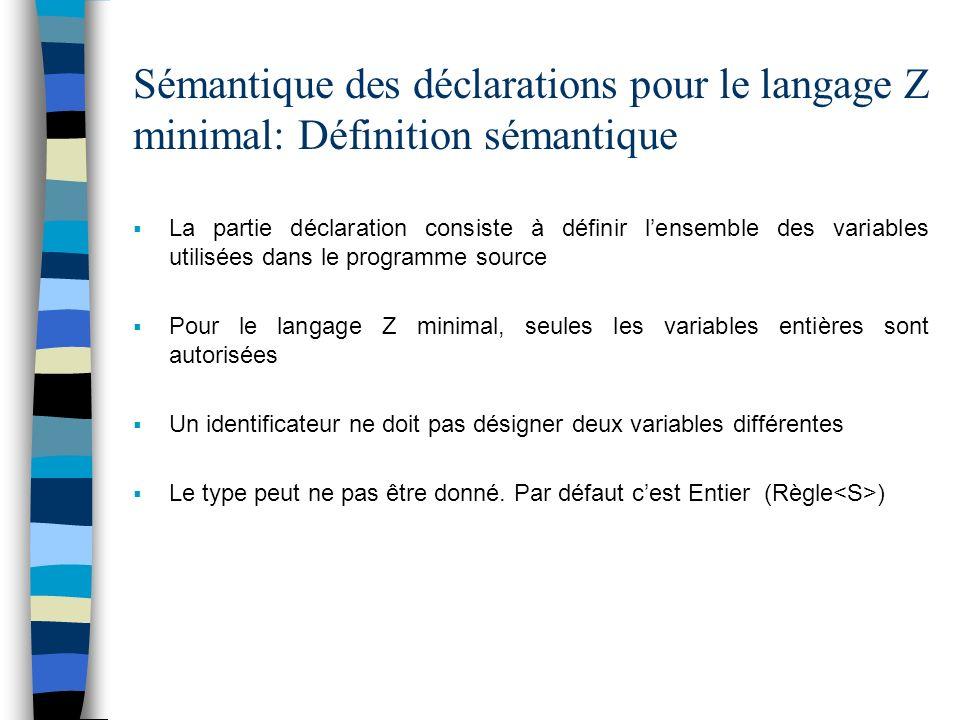 Sémantique des déclarations pour le langage Z minimal: Définition sémantique