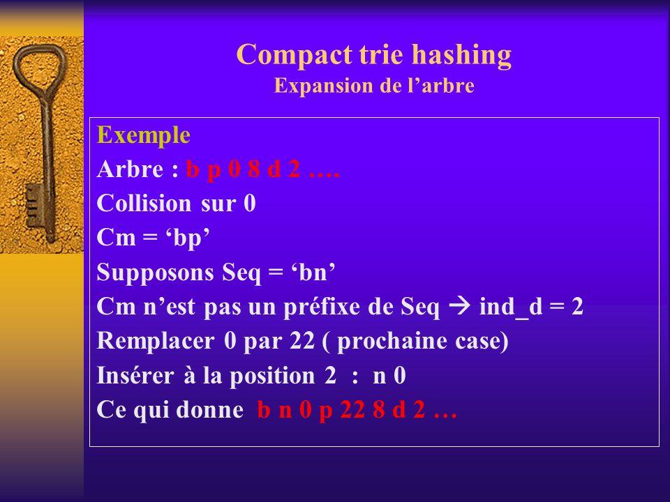 Compact trie hashing Expansion de l'arbre