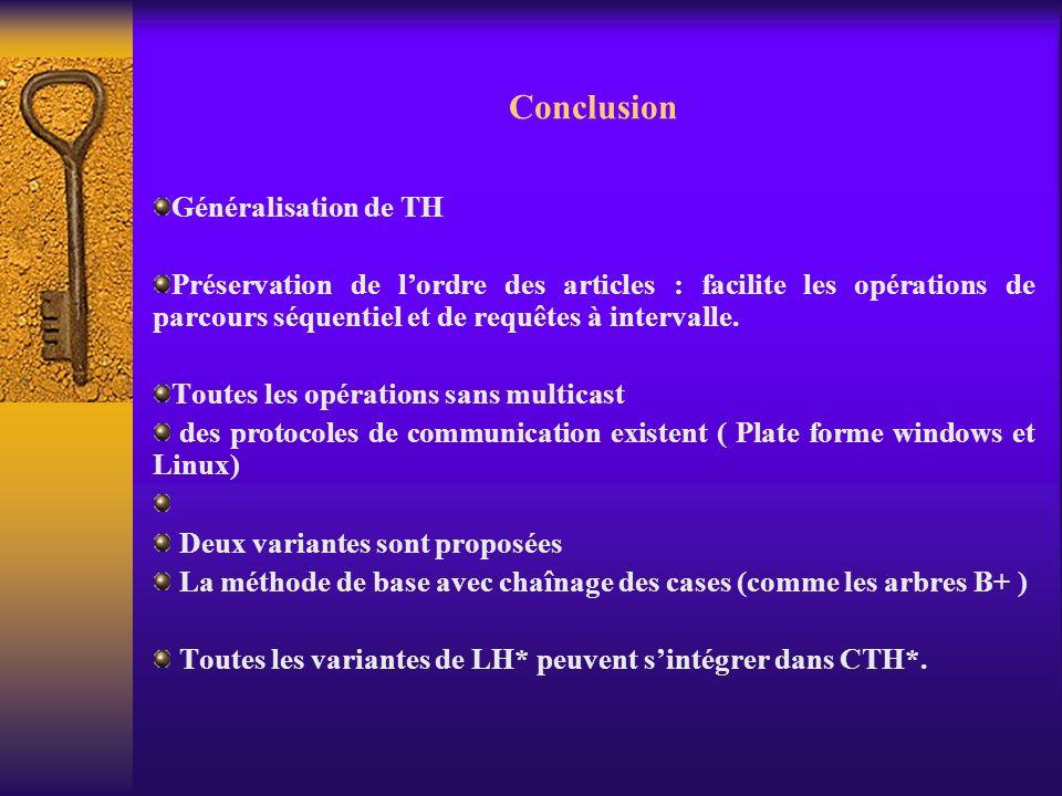 Conclusion Généralisation de TH
