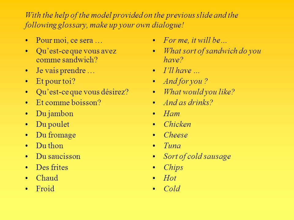 With the help of the model provided on the previous slide and the following glossary, make up your own dialogue!
