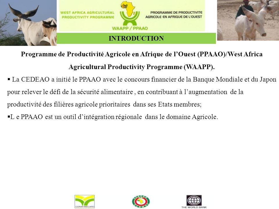 INTRODUCTION Programme de Productivité Agricole en Afrique de l'Ouest (PPAAO)/West Africa Agricultural Productivity Programme (WAAPP).