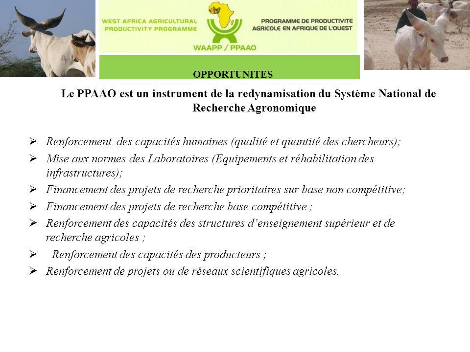 OPPORTUNITES Le PPAAO est un instrument de la redynamisation du Système National de Recherche Agronomique.