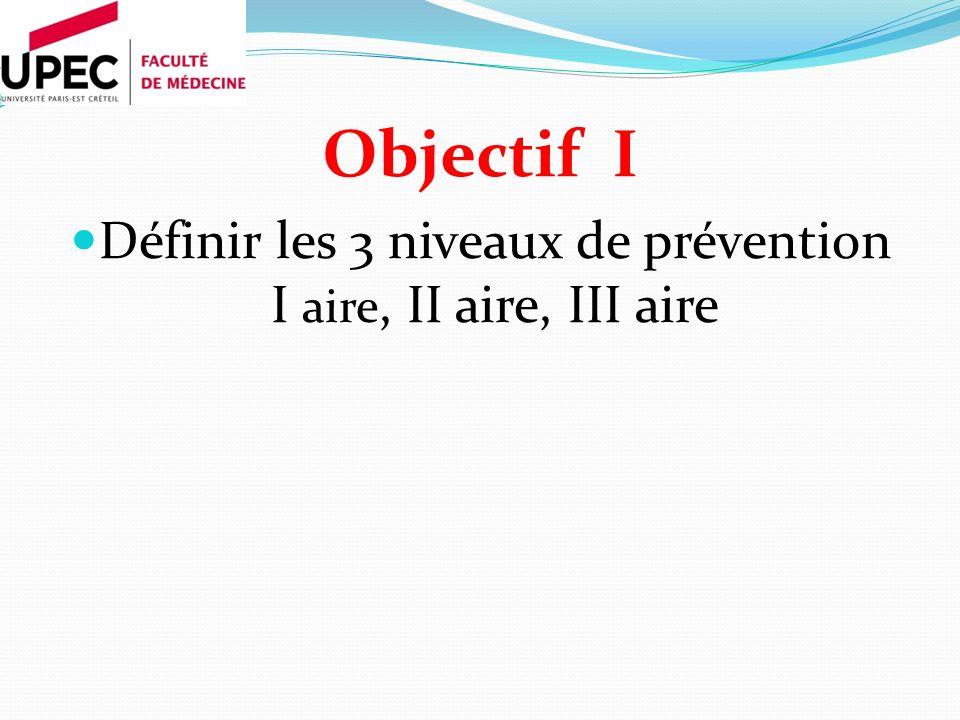 Définir les 3 niveaux de prévention I aire, II aire, III aire