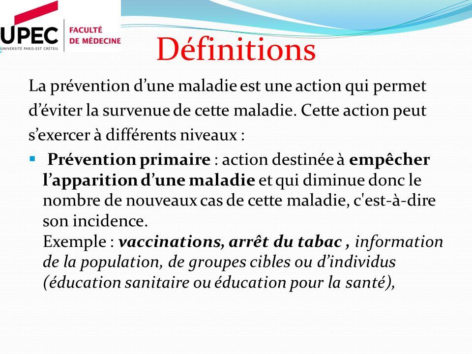 Définitions La prévention d'une maladie est une action qui permet