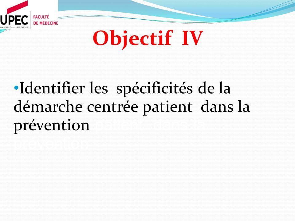 Objectif IV Identifier les spécificités de la démarche centrée patient dans la prévention patient dans la prévention.